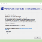 Windows Server 2016 および System Center 2016 の Technical Preview 5 が公開されました